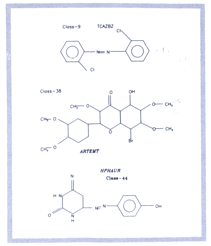Fig 5.2 An example of chemical structure diagrams obtained using the FR80 microfilm recorder.