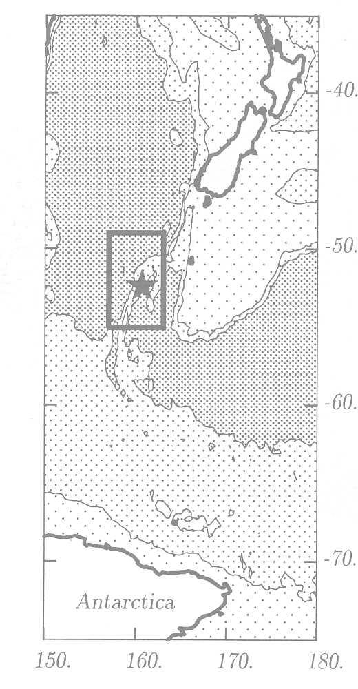 b7c9018fa7a2 Figure 1. Map of the Macquarie Ridge area. Bathymetric contours are shown  at depths
