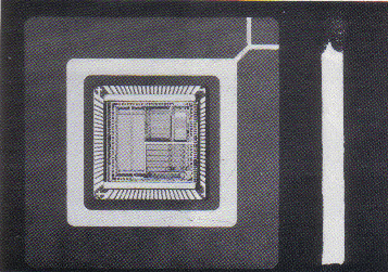 The Inmos transputer compared in size with a matchstick. The chip contains about 150,000 transistors and is capable of executing 10 million instructions per second.