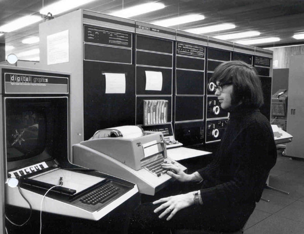 Julian Gallop at the VT15 Display, 1973