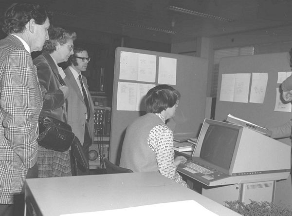 Kate Crennell demonstrating text processing facilities, April 1980