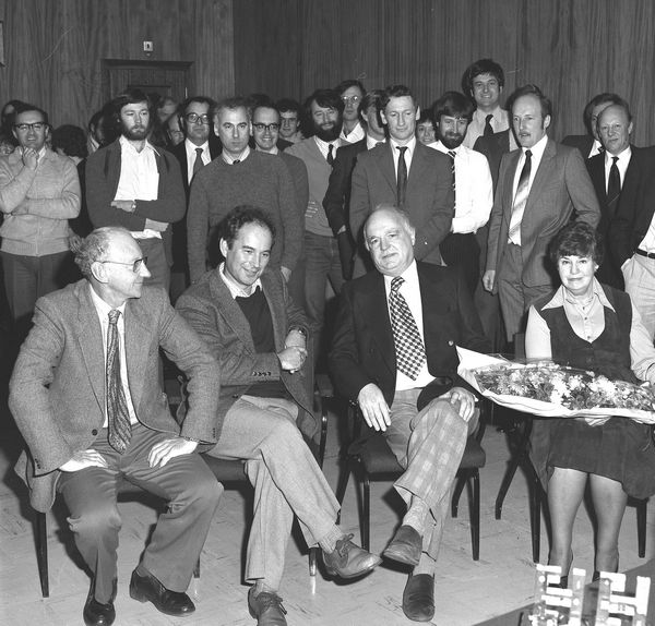 Harry Hurst, Head of Operations, retires January 1981 (Godfrey Stafford and Geoff Manning to his right)