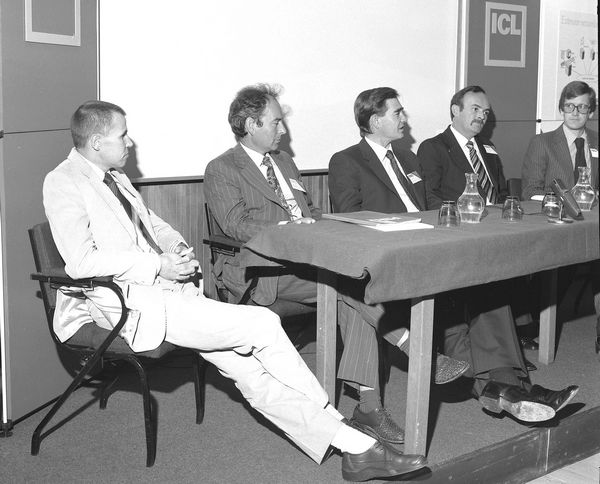 ICL/SERC Launch at RAL: Bob Hopgood, Geoff Manning, Ninian Eadie, Fred Chambers, Roger Vinnicombe, 5 October 1981
