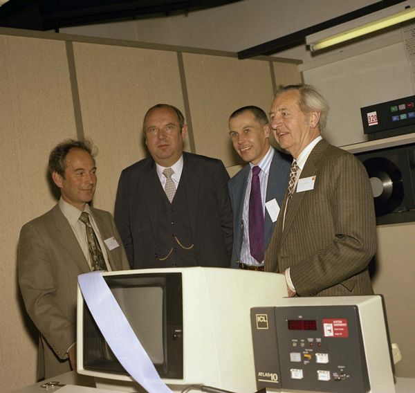 ICL Atlas 10 Launch, May 1983. Geoff Manning, ICL, Bob Hopgood, Jack Howlett