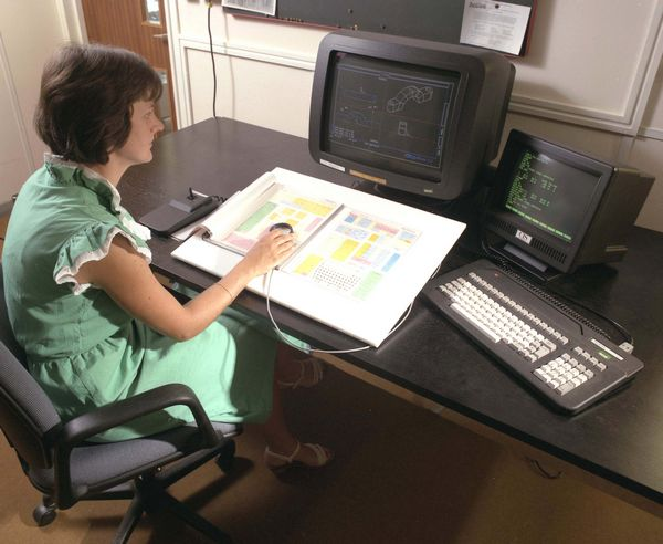 Debbie Thomas working with the CAD system,  Medusa