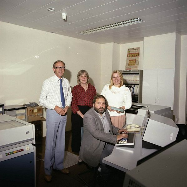 Closure ICL 2904 RAL Staff, October 1986 (Mike Claringbold, Ines Day, Ray Rolfe and Christine Norris)
